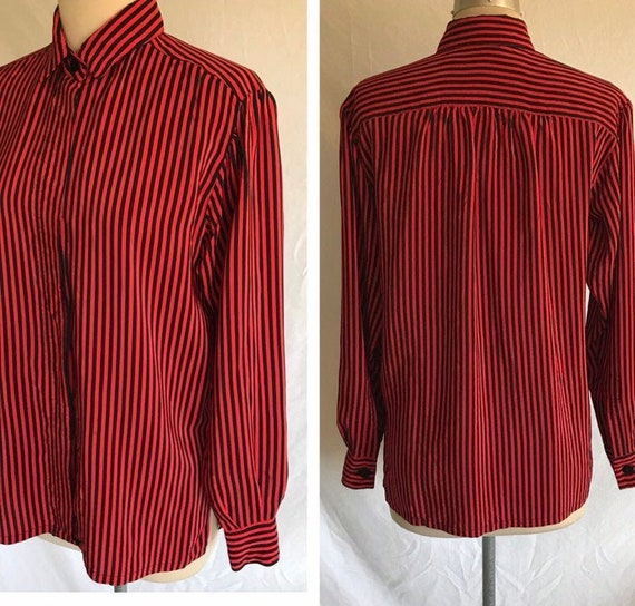 1980s Does 1940s Black and Red Striped Silk Bishop