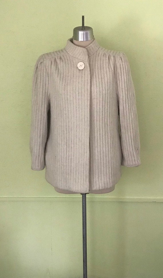 1980s Does 1940s Wool Textured Stripe Puff Sleeve