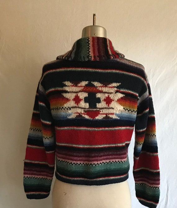1980s 1990s Southwestern Knit Cropped Wool Cardig… - image 4