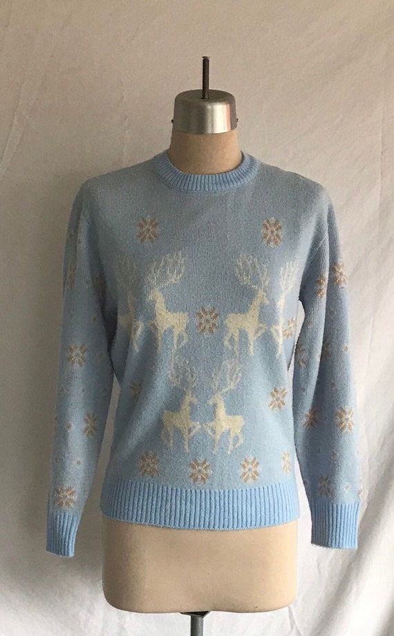 1970s Does 1940s Catalina Style Reindeer Snowflake
