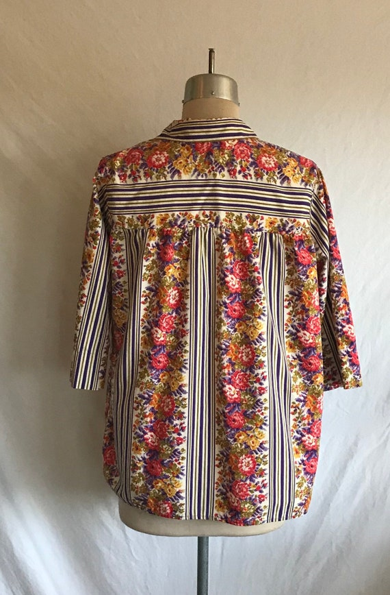 1950s Homefront Cotton Striped Cheerful Floral Sm… - image 7