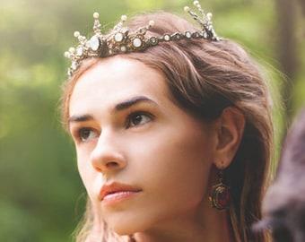 Medieval Tiara, Renaissance Wedding, Medieval Wedding, Ren Faire, Bridal Tiara, Queen Crown, Handfasting, Pagan Wedding, Garb, Avalon Tiara