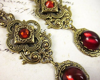 Renaissance Earrings, Red, Ruby, Queen, Tudor, Medieval Jewelry, Renaissance Wedding, Ren Faire, Garb, Victorian, Your Choice of Color