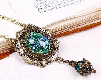 Renaissance Necklace, Emerald Jewel Necklace, Tudor Costume, SCA Garb, Medieval Wedding, Ren Faire, Renaissance Pendant Necklace, MedCol