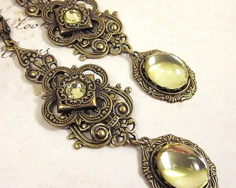 Victorian Earrings, Yellow Earrings, Renaissance Jewelry, Tudor, Medieval Jewelry, Ren Faire Wedding, Bridesmaid, SCA, Avalon