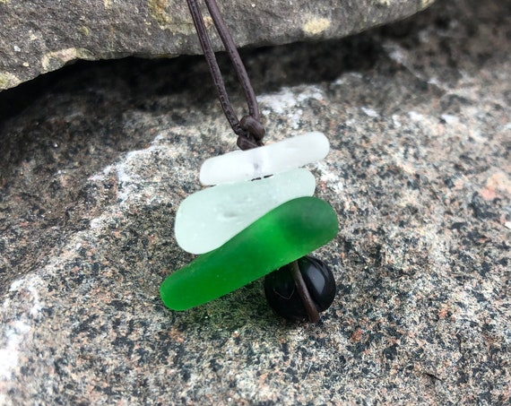 Beach Glass Leather Jewelry, Beach Glass Cairn Necklace, Beach Glass Cairn Pendant, Adjustable Leather Cord, Recycled Genuine Beach Glass,