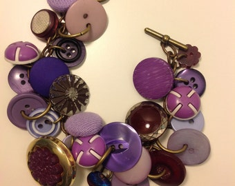 A Purple Vintage Button Charm Bracelet