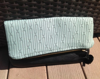Leather Trimmed Foldover Clutch