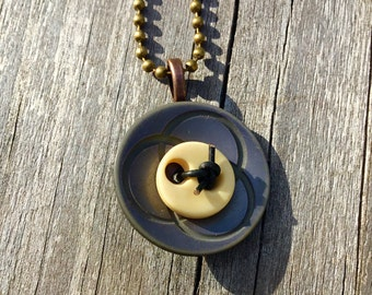 Vintage Buttons Repurposed as a  One of a Kind Pendant
