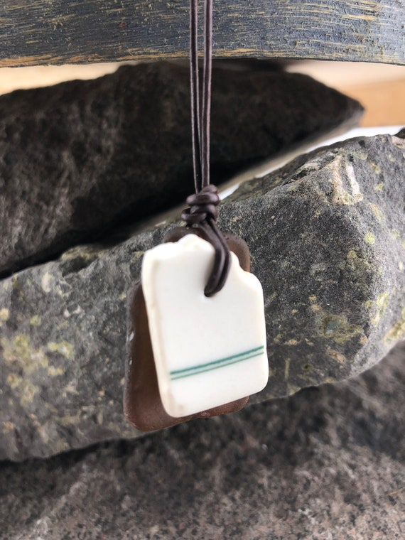 Beach Glass Beach Pottery Pendant, Sea Glass and Pottery Necklace, Beach Glass Necklace, Beach Pottery, Beach Lover's Gift, Leather Jewelry