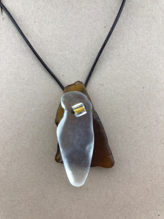 Beach Glass Leather Jewelry, Beach Glass Necklace, Beach Glass Pendant, Adjustable Leather Cord, Recycled Genuine Beach Glass, Eco Friendly