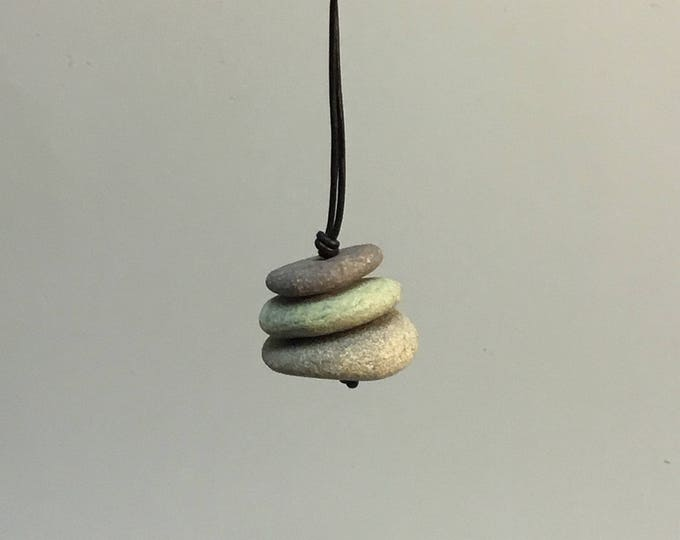 Featured listing image: Lake Superior Beach Stone Cairn Necklace #132017