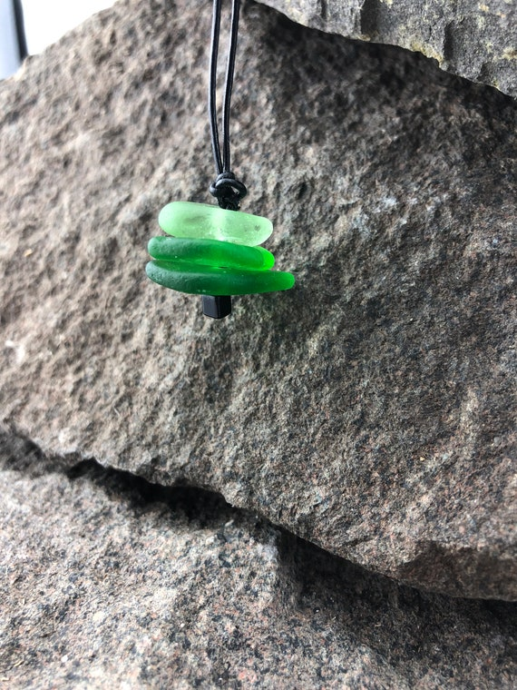Beach Glass Jewelry, Beach Glass Necklace, Beach Glass Pendant, Adjustable Leather Cord, Upcycled Recycled Beach Glass, Cairn Necklace