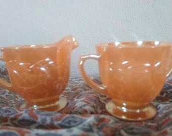 Vintage Peachware Sugar and Creamer Set