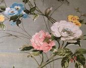 Vintage 1980s Jack Valentine Fabric Sample, Vintage Cotton Floral Fabric Sample
