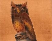 Framed Painted Owl on Velvet, 1970s Owl, Burnt Orange Owl