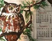 Vintage 1980 Owl Tea Towel Calendar