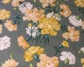 Vintage 1980 Brunschwig & Fils Claveles Fabric Sample, Vintage Yellow Floral Fabric Sample, Fabric Sample