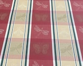 Vintage 1980s Silk Red and Green Plaid Insect Fabric, Embroidered Plaid Silk Fabric