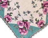 Vintage 1940s Floral Handkerchief, Vintage Women's Handkerchief, Vintage Handkerchief