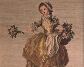 "Vintage Framed Gobelin ""Bouquetière"" Needlepoint, 18th Century Woman Needlepoint, Jean-Frédéric Schall Tapestry"