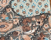 """Vintage 1960s 68"""" Rectangle Chintz Indienne Tablecloth, Vintage Paisley Chintz Tablecloth, Vintage Floral Tablecloth"""