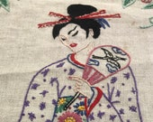 Vintage Japanese Woman Embroidered Wall Hanging