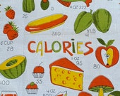 Vintage Calories Tea Towel, Vintage 1970s Tea Towel, Food Tea Towel, Tea Towel