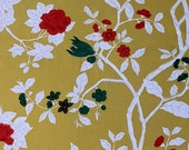 Vintage 1960s Bob Collins Yellow Floral Fabric Sample, Vintage Bob Collins Yellow Floral Fabric, Vintage Yellow Fabric