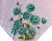 Vintage 1950s Teal Chrysanthemum Handkerchief, 1950s Chrysanthemum Handkerchief, Vintage Handkerchief