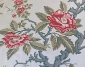 Vintage 1950s Brunschwig & Fils Chinoiserie Floral Fabric Sample, Brunschwig and Fils Magnolia Fabric, Grandmillennial Fabric
