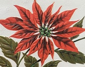 Vintage 1940s Poinsettia Christmas Card, Vintage Poinsettia Christmas Card, Poinsettia Christmas Card, Christmas Card Service