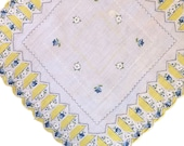 Vintage 1950s Yellow and Blue Handkerchief, 1950s Floral Handkerchief, Vintage Handkerchief