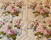Vintage 1980s Bassett McNab Honeycomb Bedspread, Vintage 1980s Bassett McNab Honeycomb Comforter, Grandmillennial Floral Chintz Bedspread