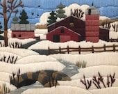 Framed Vintage Barn in the Snow Yarn Painting