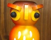 German Vintage Wooden Owl Candle Holder