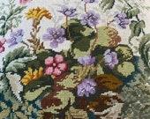Vintage 1960s Floral Needlepoint Pillow, Vintage Needlepoint Pillow, Granny Chic Pillow