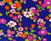 Vintage 1970s Floral Jersey Fabric, 1970s Polyester Fabric, Polyester Flower Power Fabric