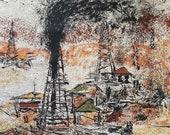 "Vintage 1960s ""Gusher"" Westgate Fabrics Sample, Gusher Fabric, Oilfield Fabric, Oilfield Art, Petroliana Art"