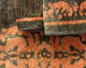 1970s Burnt Orange and Olive Plush Towels, Vintage Towels,