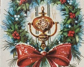 Vintage 1940s Wreath Christmas Card, Vintage Wreath Christmas Card, Wreath Card, Christmas Card Service, Vintage Wreath Card, Vintage Card