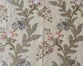 Vintage 1980s Jacquard Vining Oak Leaf Upholstery Fabric, Oak Leaf and Floral Jacquard Fabric, Vintage Oak Leaf Fabric
