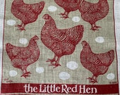 Vintage Little Red Hen Tea Towel, Vintage Little Red Hen Tea Towel, Chicken Tea Towel, Chicken Print