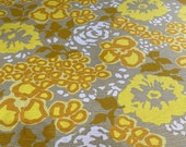 Vintage 1960s David and Dash Yellow and Gray Abstract Linen Floral Fabric, Vintage Floral Linen Fabric, David and Dash Fabric