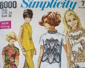 Vintage 1968 Simplicity Sewing Pattern, Simplicity Sewing Pattern 8000, Simplicity 8000, 1960s Pants and Shirt Pattern