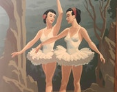 Mid-Century Framed Ballerina Paint-By-Numbers Piece