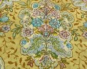 "Vintage 1971 Payne Fabrics ""Courtleigh"" Fabric Sample, Vintage Payne Courtleigh Fabric, Vintage Yellow Floral Linen Fabric"