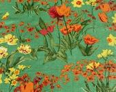 Vintage 1979 Bassett McNab Handprinted Tulips Fabric Sample, Vintage Tulip and Daffodil Fabric, Vintage Linen Look Fabric