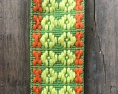 Vintage 1970s Orange Yellow and Green Woven Trim, Vintage Sewing Trim, WovenTrim, Vintage Cotton Trim