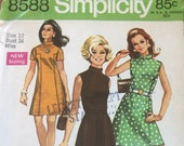 Vintage 1969 Simplicity Sewing Pattern, Simplicity Sewing Pattern 8588, Simplicity 8588, 1960s Dress Pattern